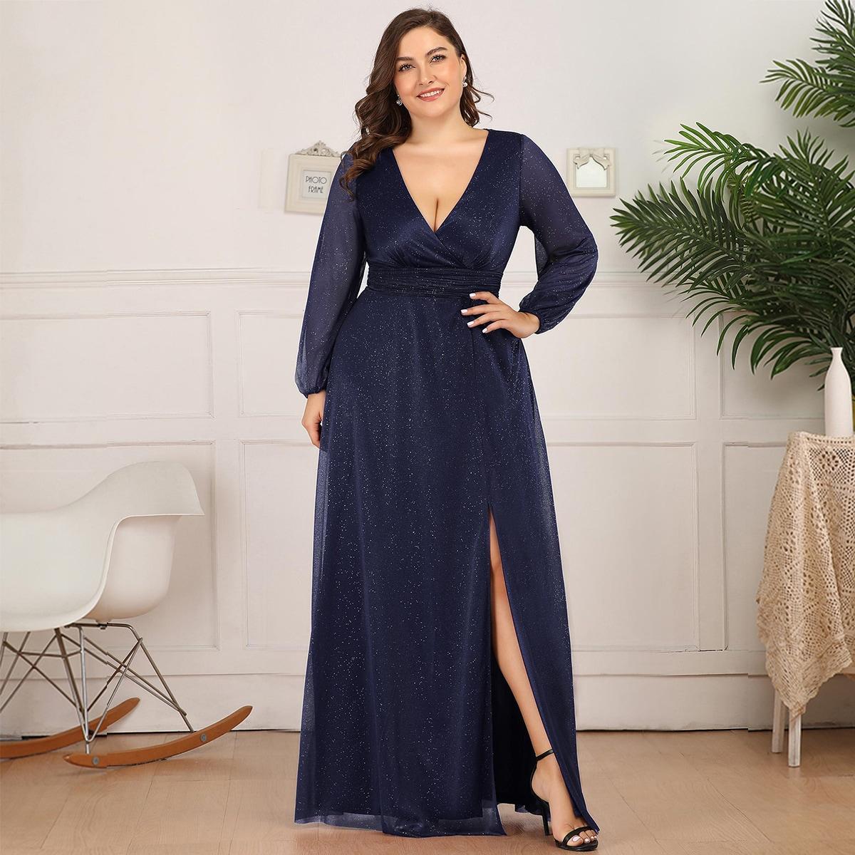 Платье макси размера плюс с разрезом и сборкой