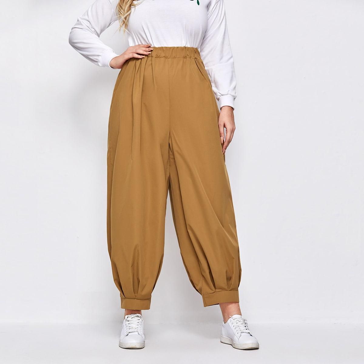 Однотонные брюки размера плюс