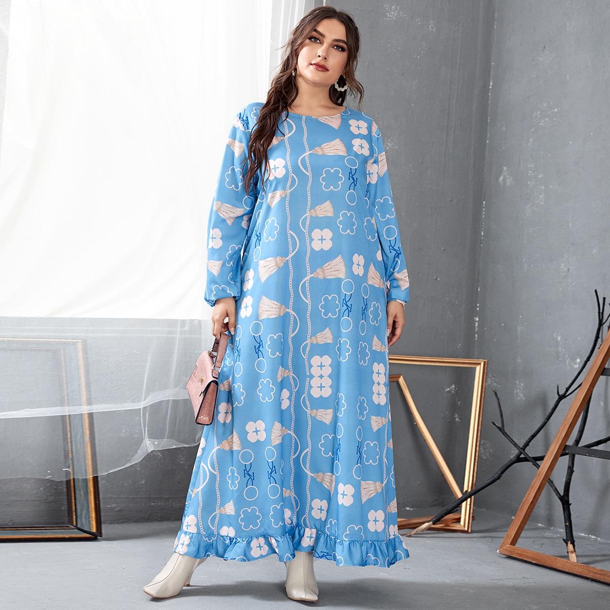 С оборками Цветочный Повседневный Платья размер плюс