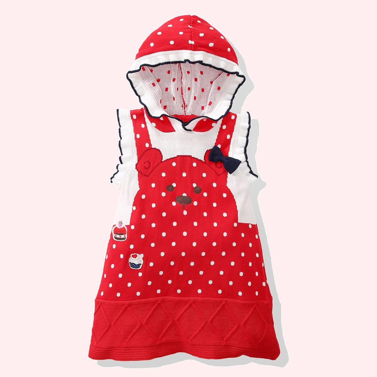 С вышивкой в горошек милый трикотажные платья для девочек