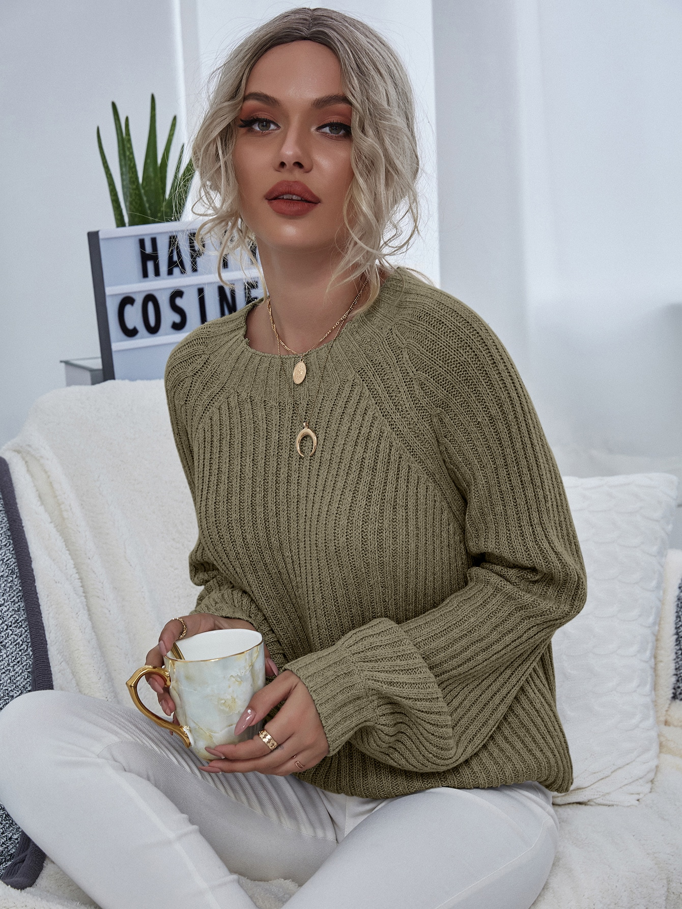Solid Raglan Sleeve Sweater thumbnail