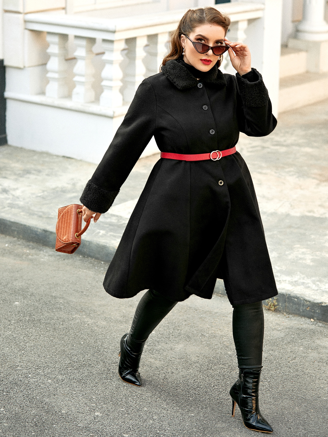 Plus Contrast Teddy Collar Skater Overcoat Without Belt thumbnail