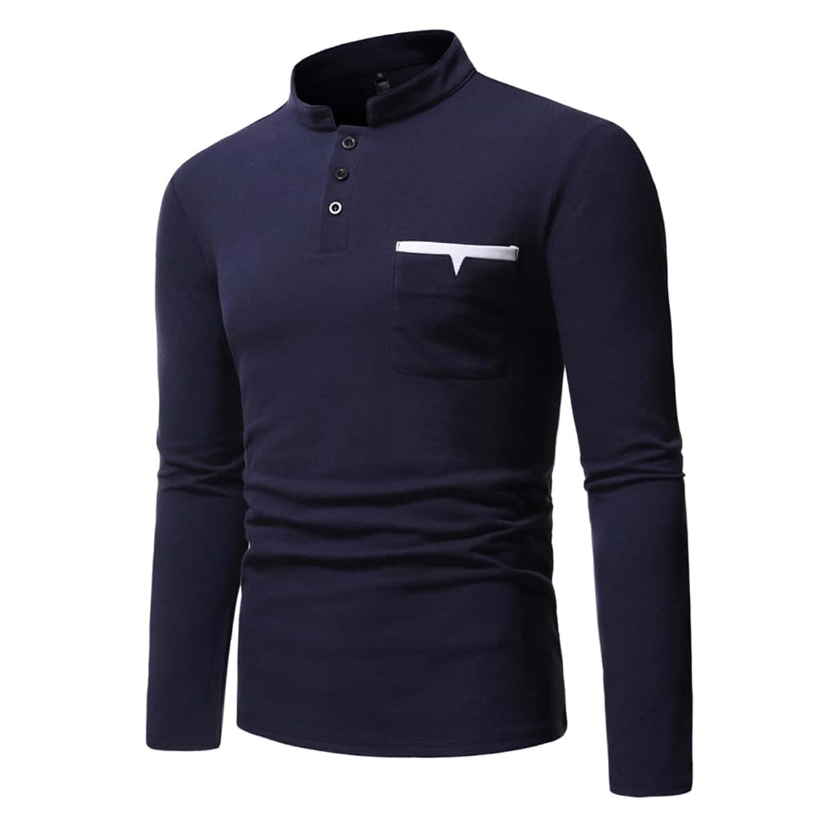 Men Pocket Patched Half Button Polo Shirt
