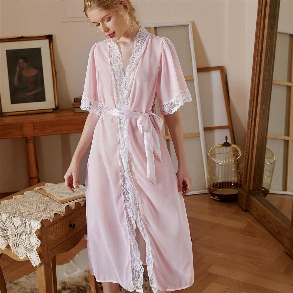 Контрастные кружева контрастный цвет королевский ночной халат