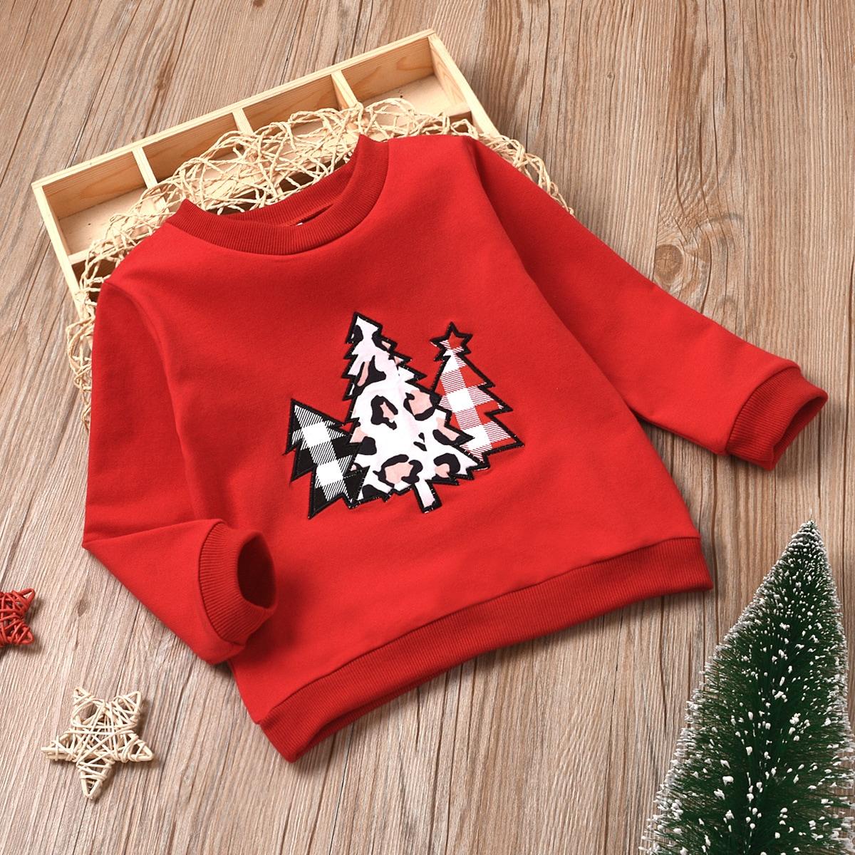 С вышивкой рождество повседневный свитшоты для девочек
