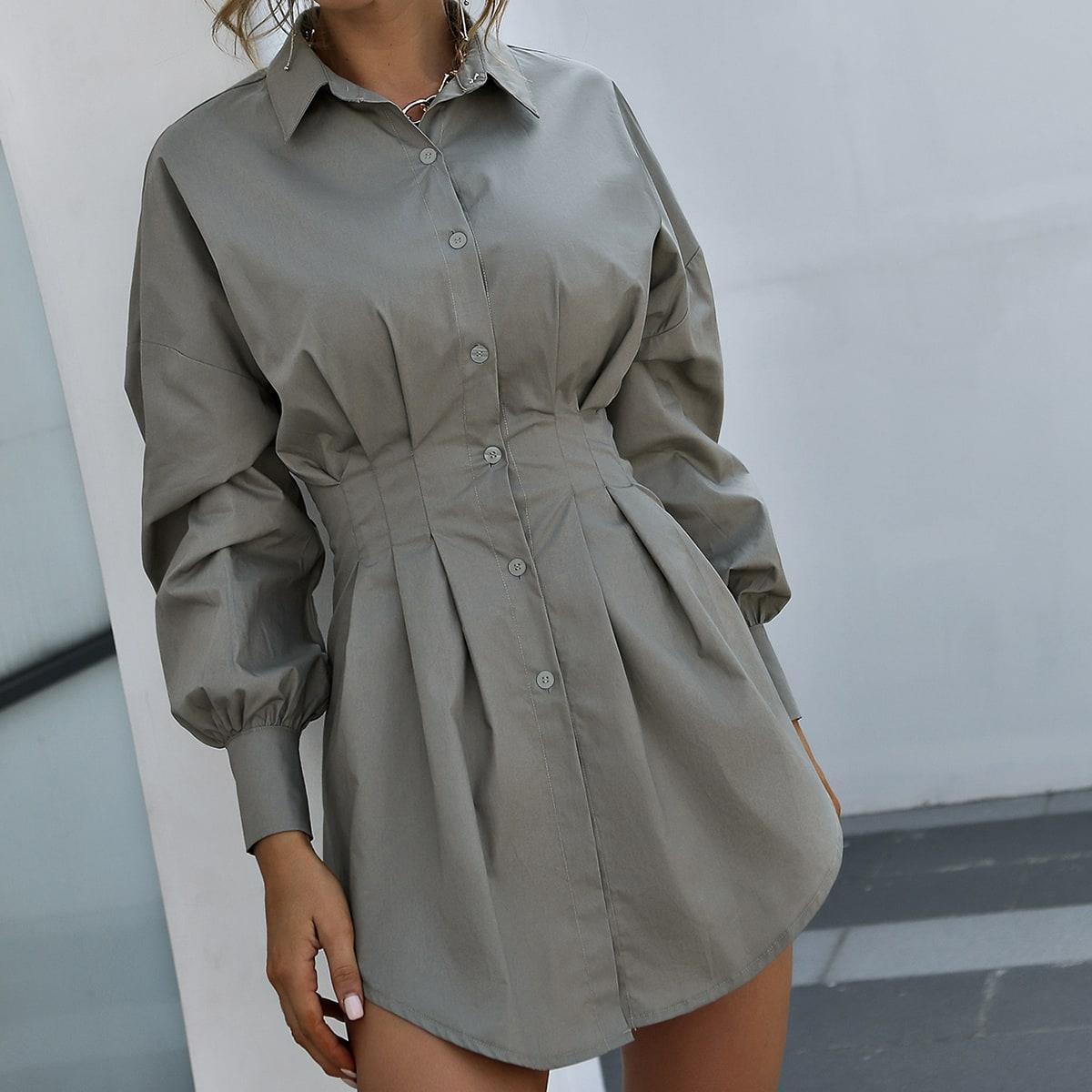 Длинная блузка с присборенной талией