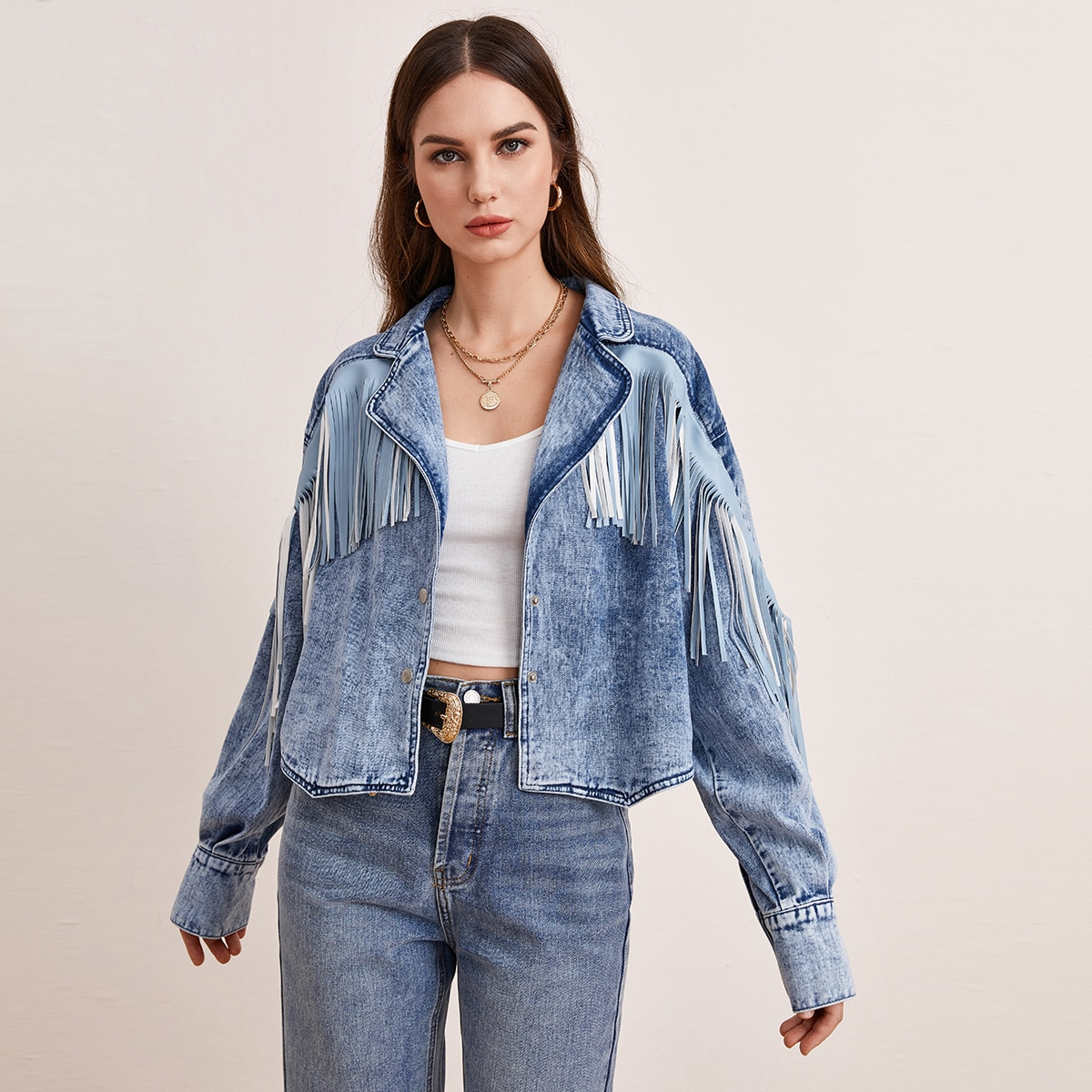 Button Front Fringe Trim Denim Jacket