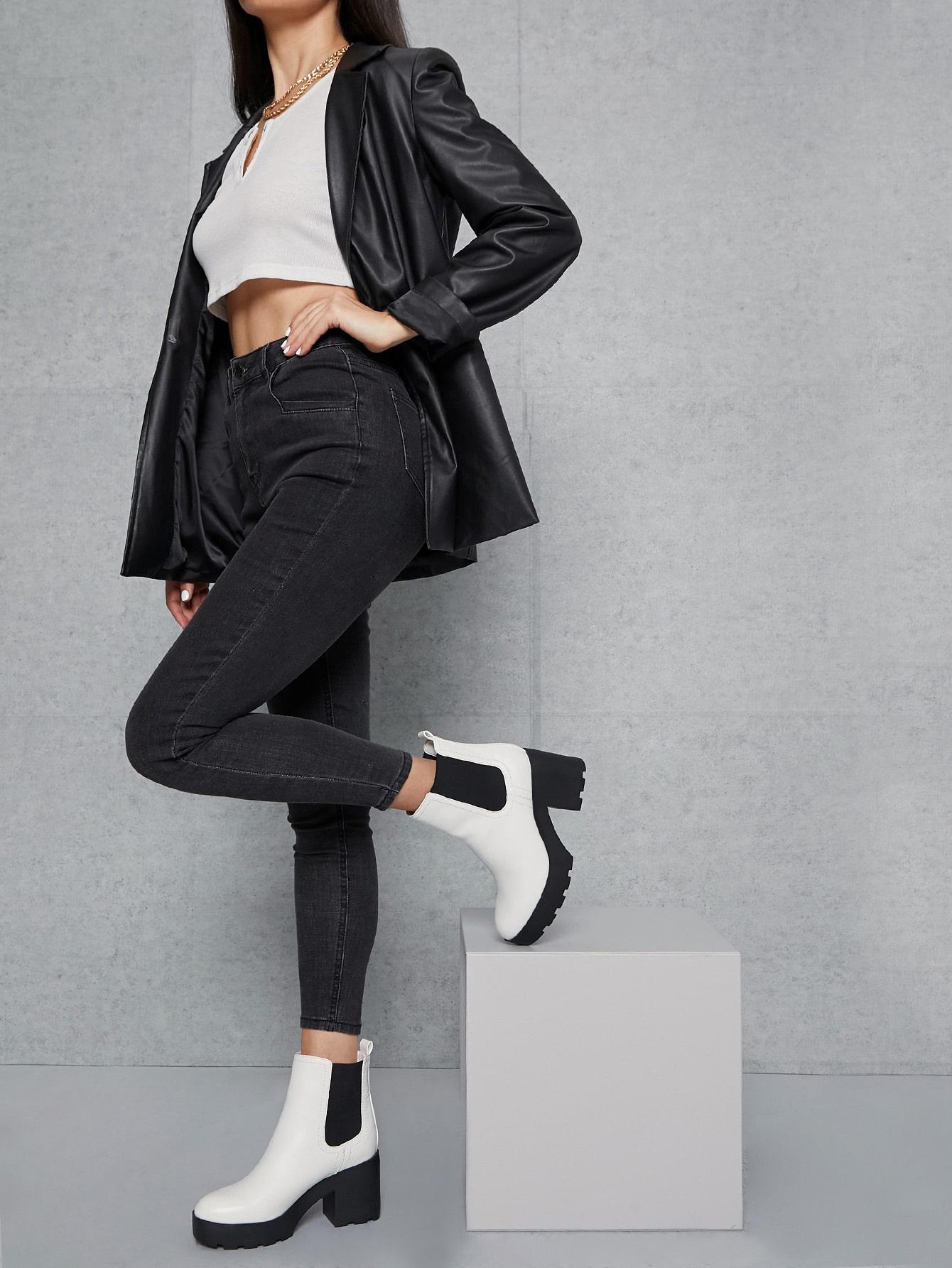 Vegan Leather High Block Heel Platform Boots