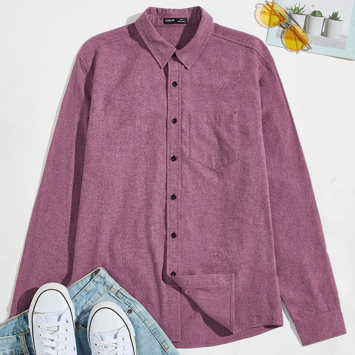Карман одноцветный повседневный мужские рубашки