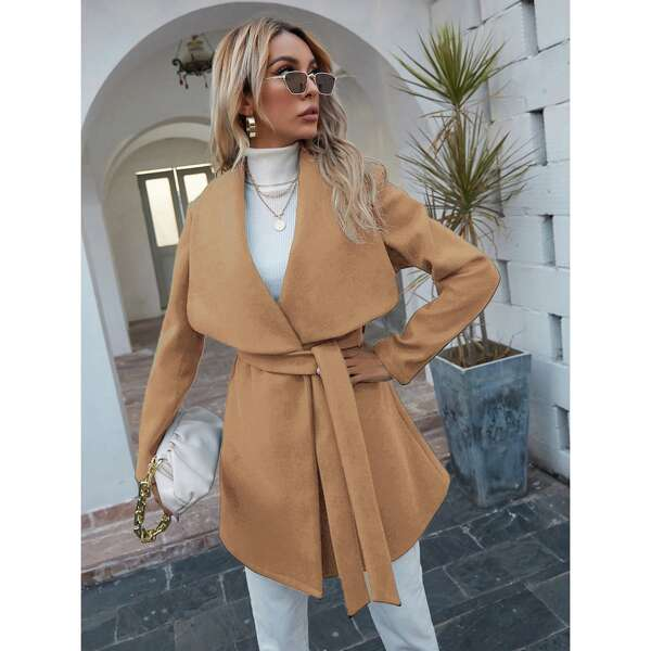 Waterfall Collar Belted Overcoat, Camel