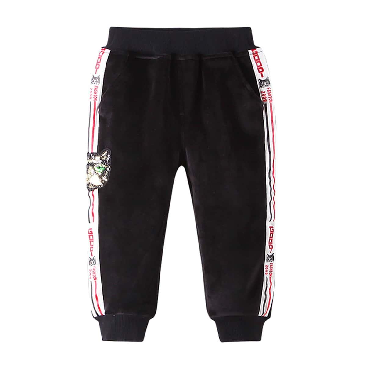 Контрастные блестки полосатый спортивный брюки для маленьких девочек