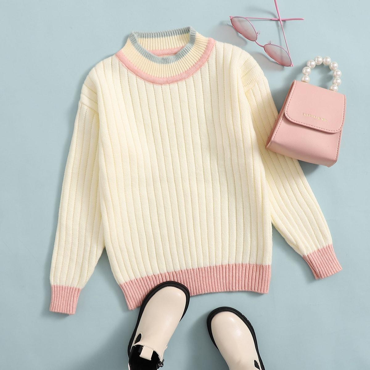 Полосатый повседневный свитеры для девочек