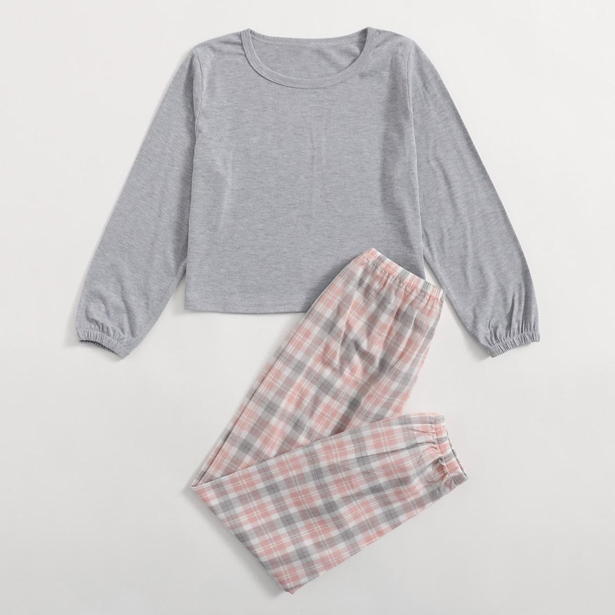 в клетку Повседневный Домашняя одежда для девочек