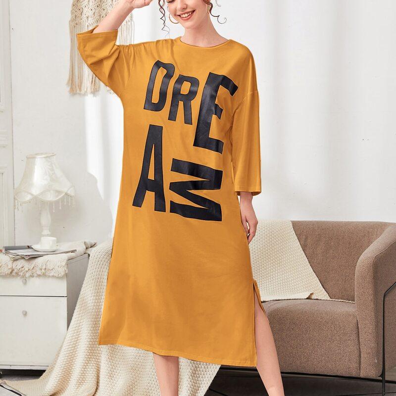 Drop Shoulder Split Hem Letter Graphic Nightdress, Mustard yellow