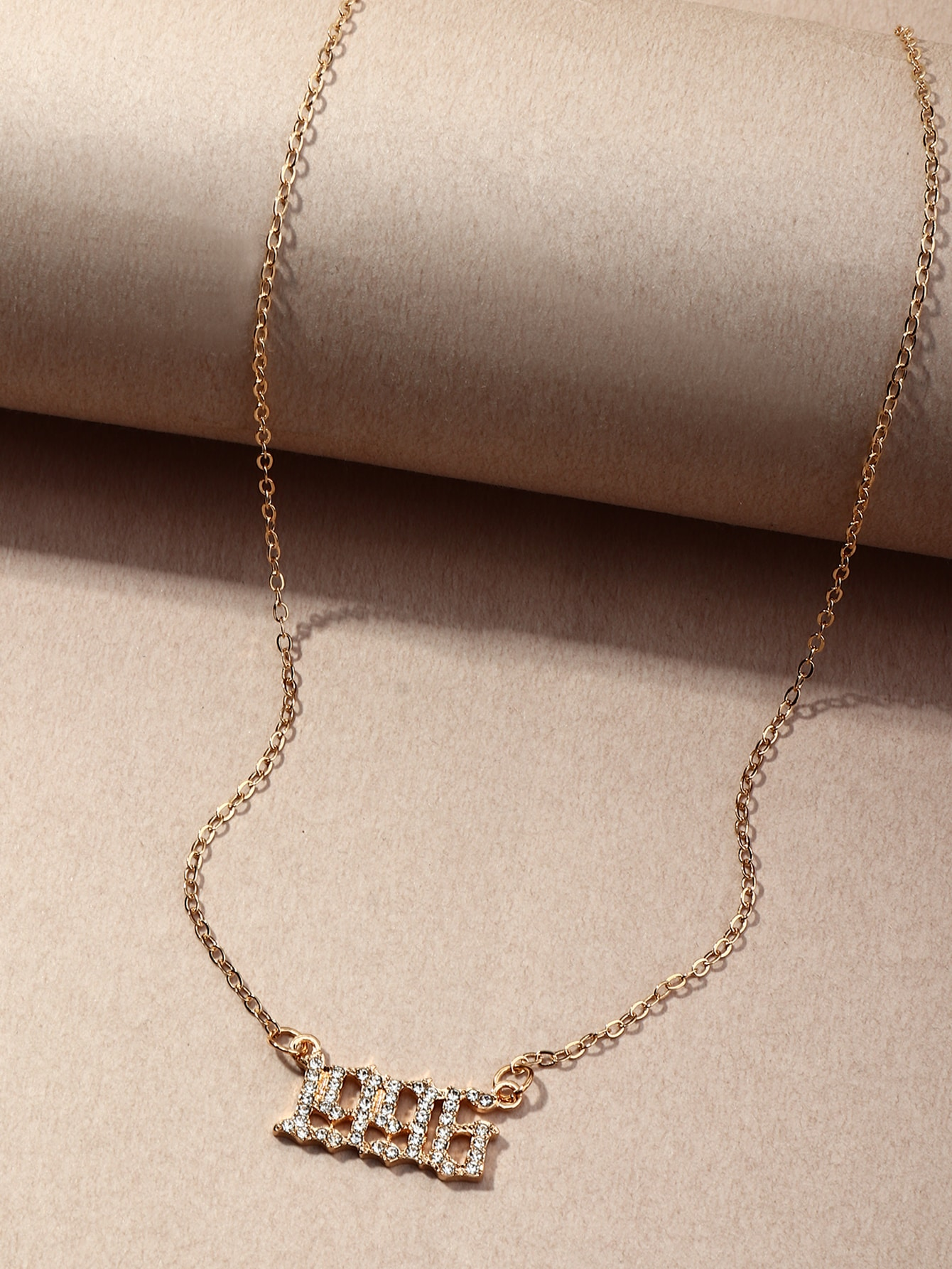 Rhinestone Arabic Numeral Pendant Necklace thumbnail