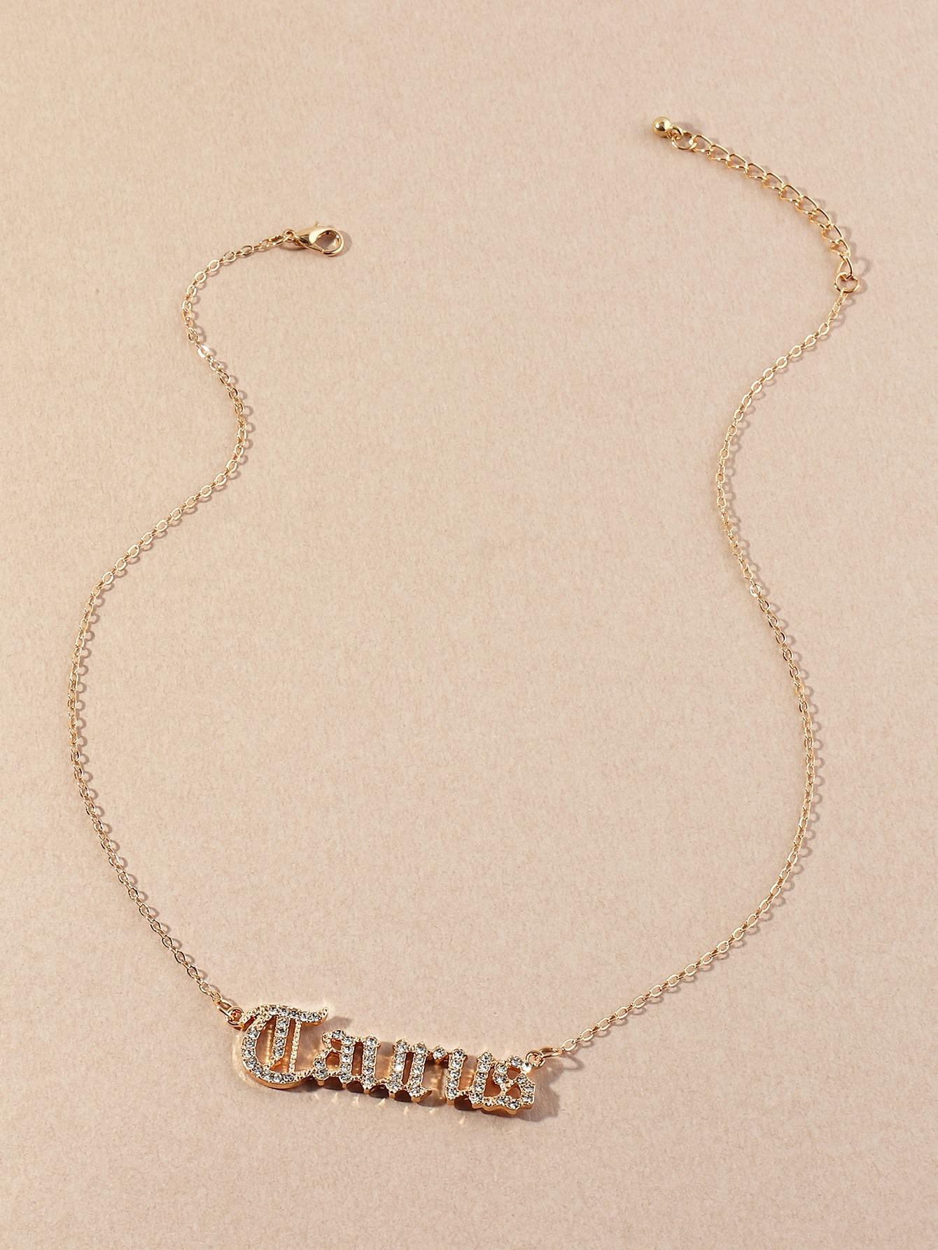 Rhinestone Letter Pendant Necklace thumbnail