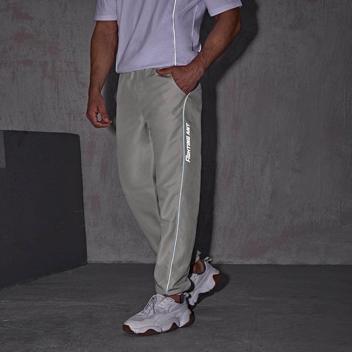 Мужские спортивные брюки с текстовым принтом