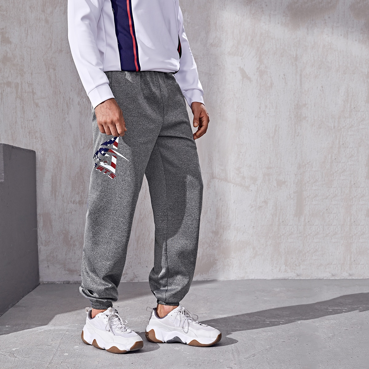 Мужские спортивные брюки с американским флагом и алфавитом