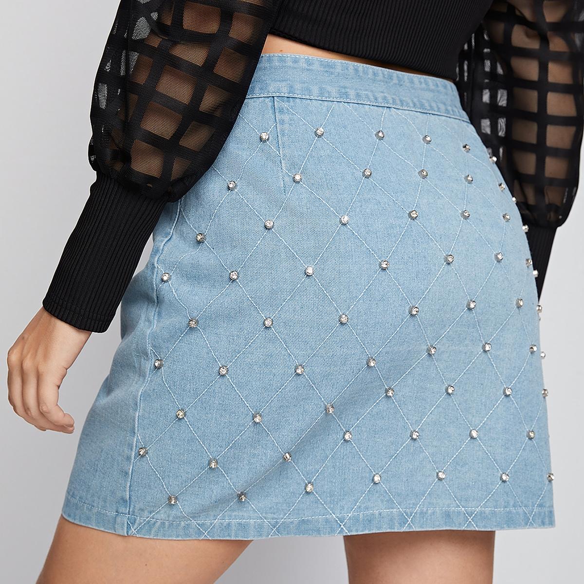 Со стразами одноцветный повседневный джинсовые юбки размер плюс
