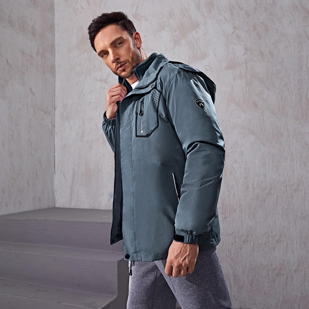Мужская спортивная куртка с капюшоном и съемной плюшевой подкладкой