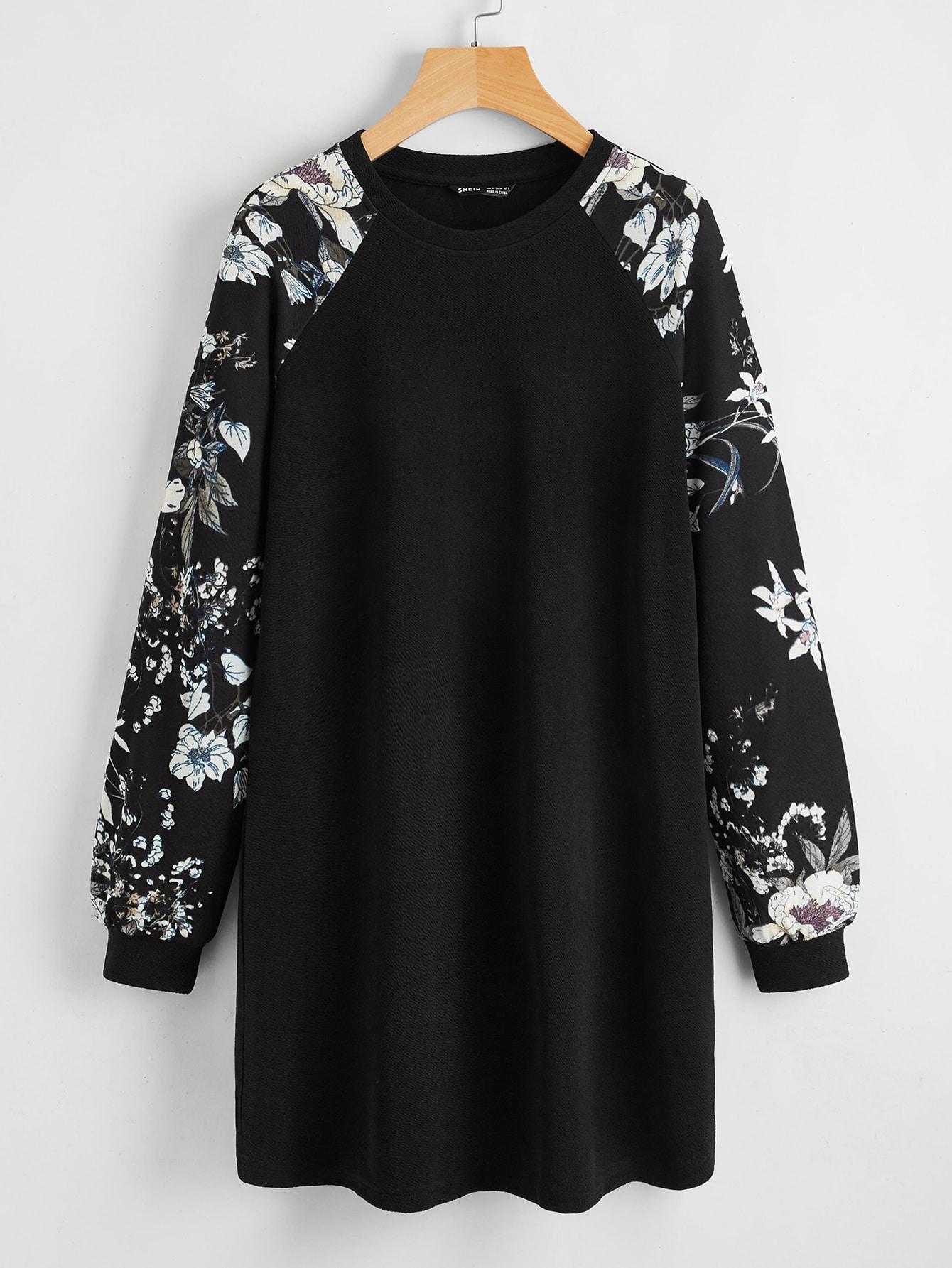 Floral Print Raglan Sleeve Dress thumbnail