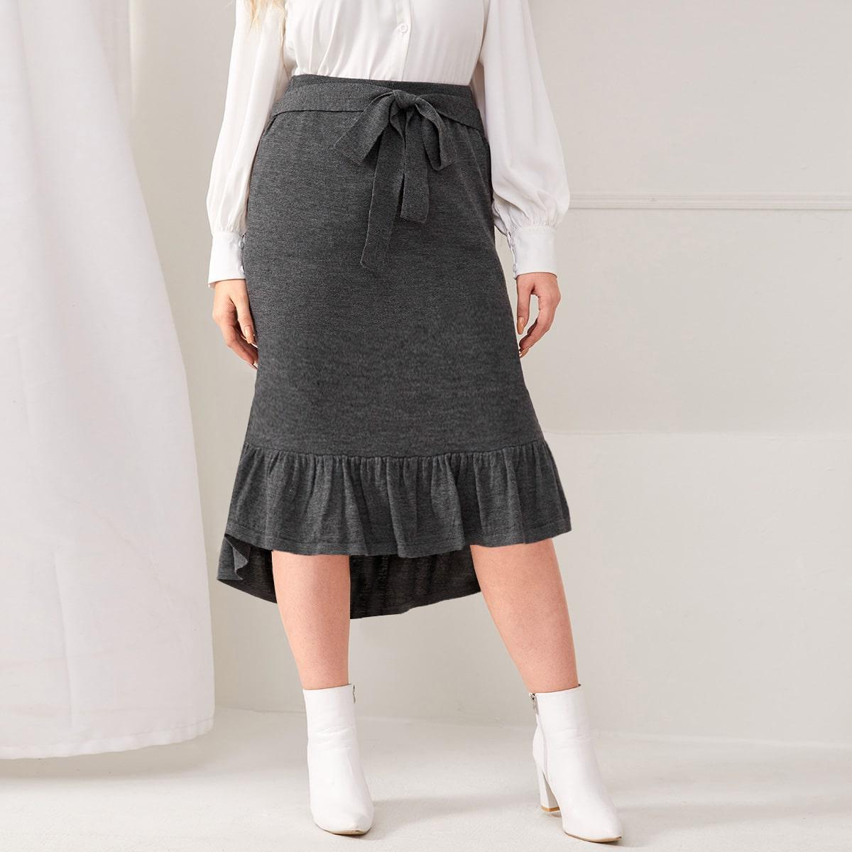 Асимметричный одноцветный элегантный трикотажные юбки размер плюс