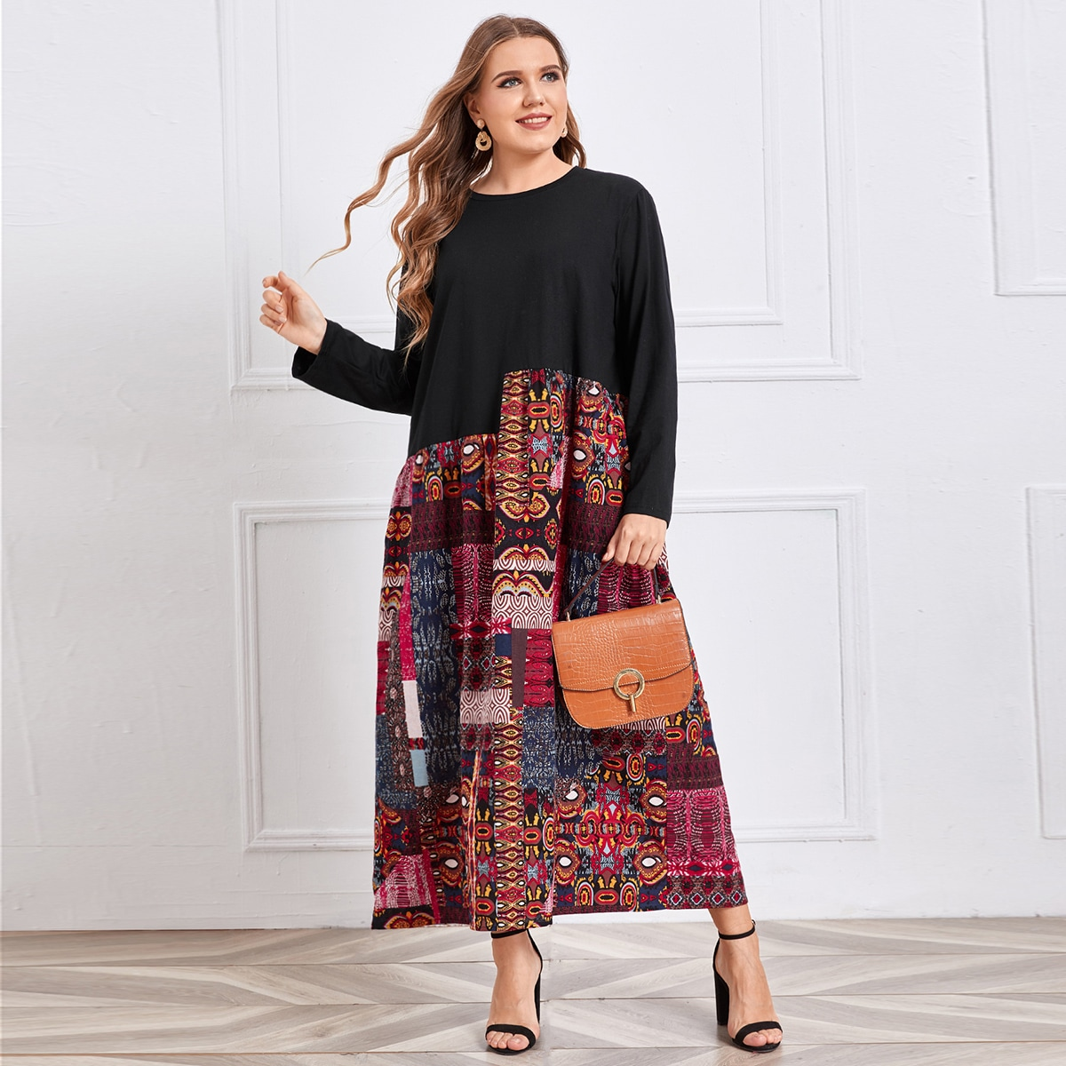 Plus Patchwork Tunic Dress