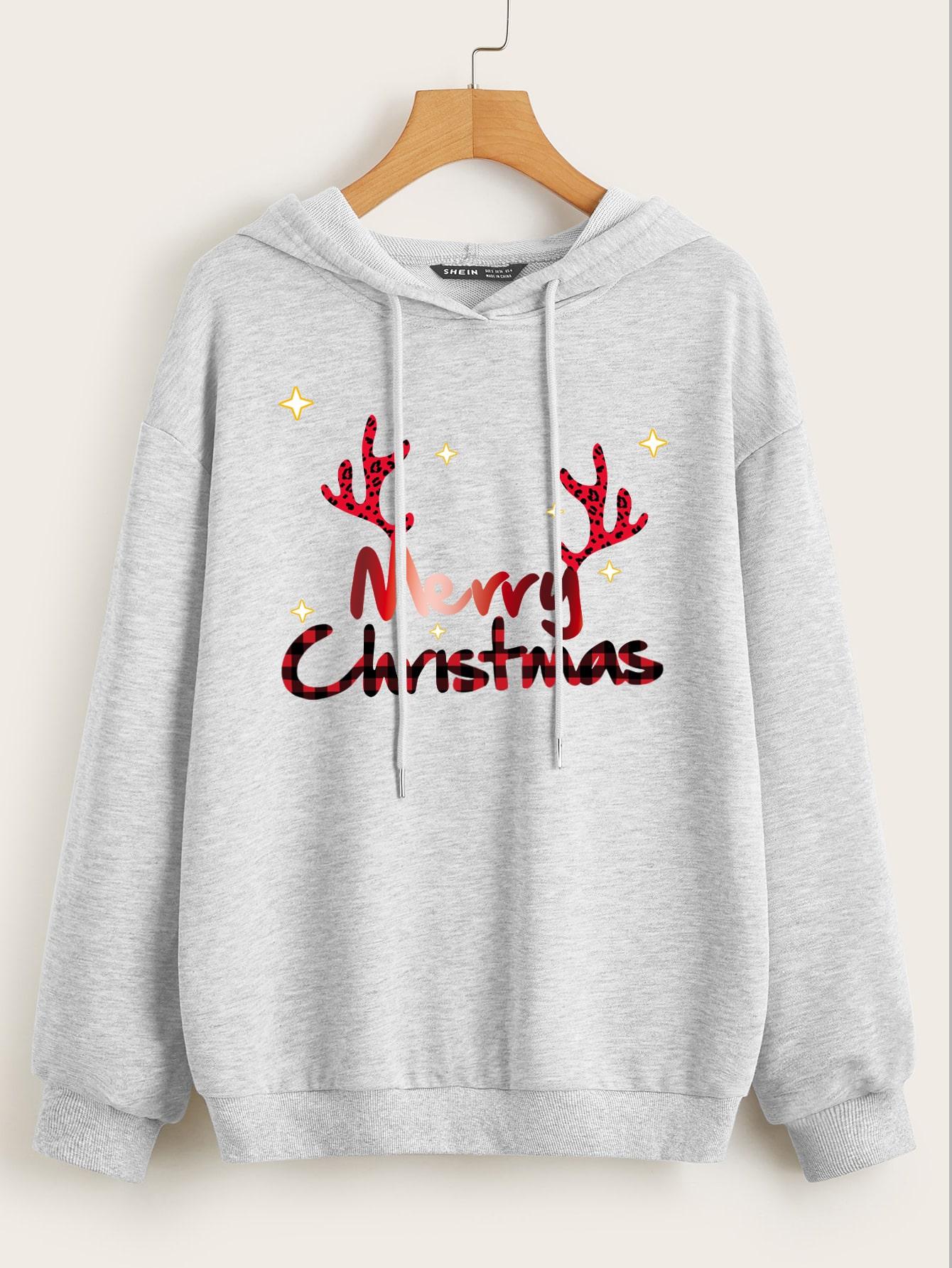 Plus Christmas Print Drawstring Hoodie thumbnail