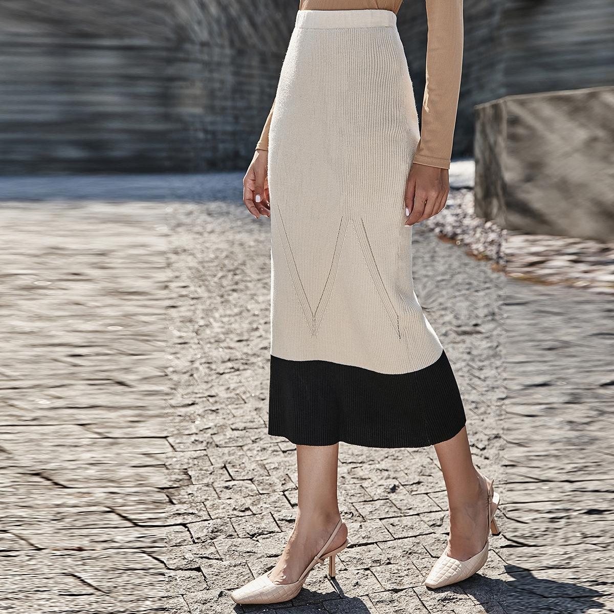 Контрастный цвет элегантный вязаные юбки