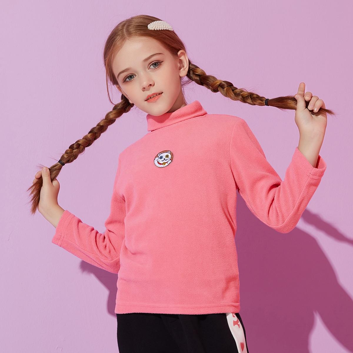 Вышивка с карикатурой повседневный футболки для девочек