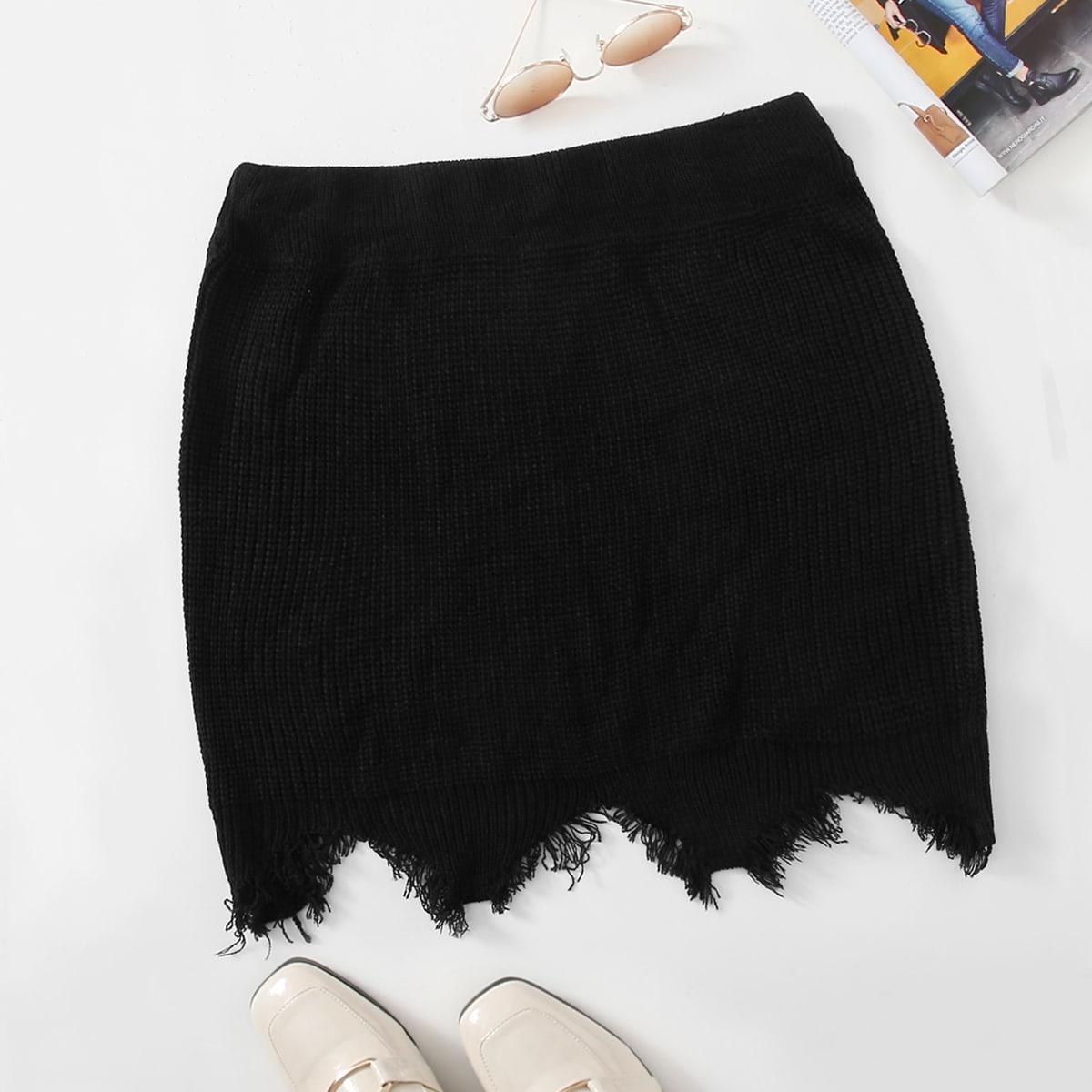 Необработанный низ одноцветный повседневный трикотажные юбки размер плюс