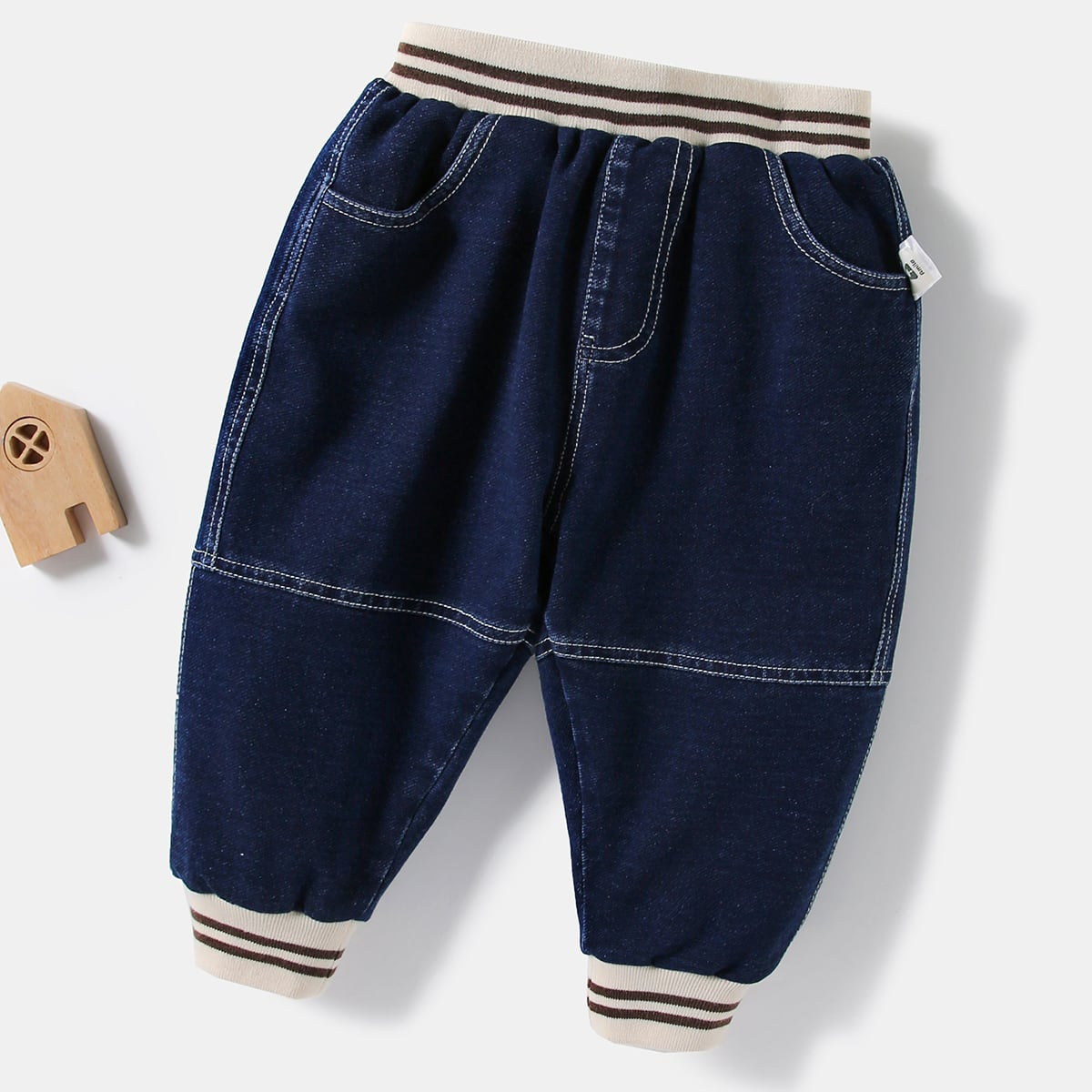 с карманами Полосатый Деним для малышей от SHEIN