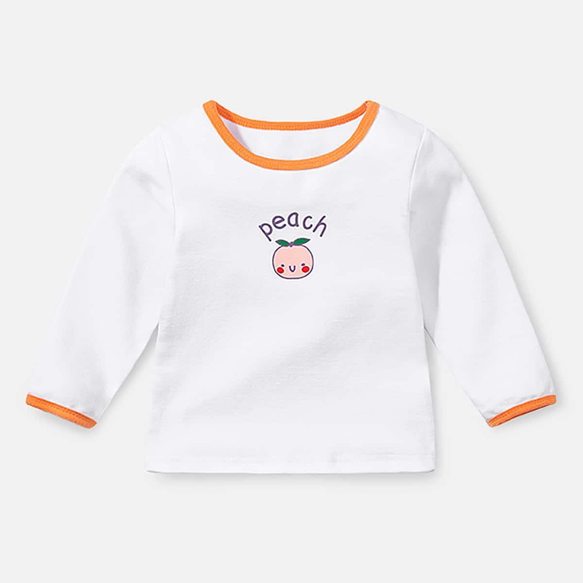 Контрастная отделка с карикатурой повседневный футболки для маленьких девочек