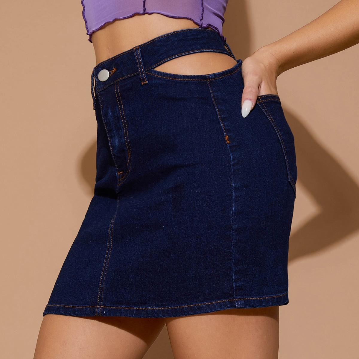 С разрезом одноцветный сексуальный джинсовые юбки