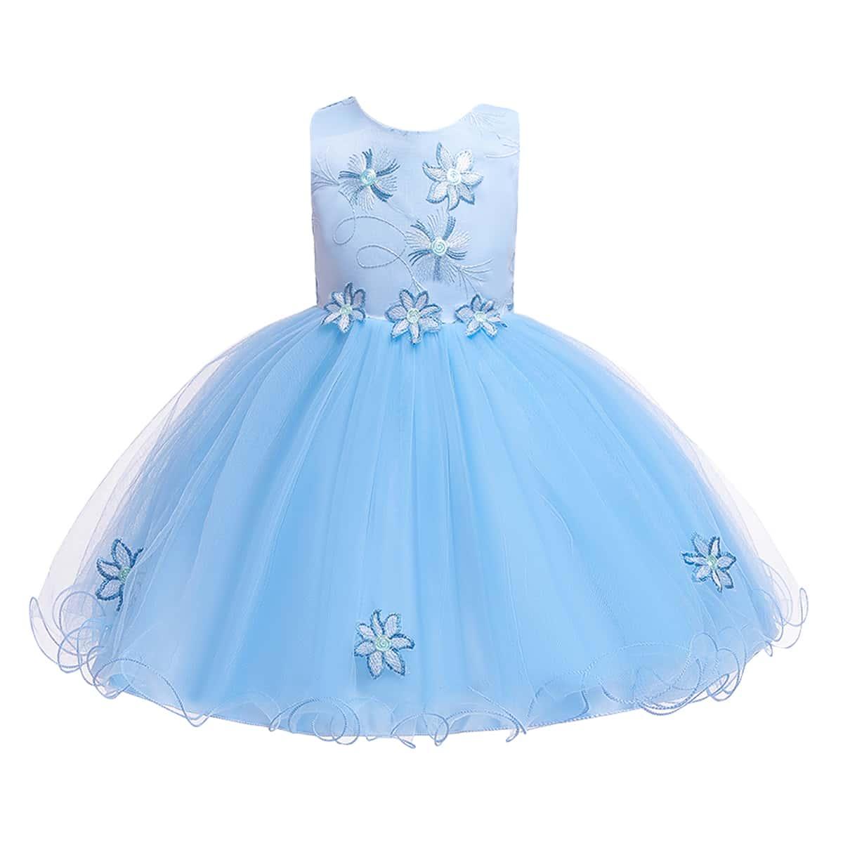 Сетчатое платье с узлом сзади и аппликацией для девочек