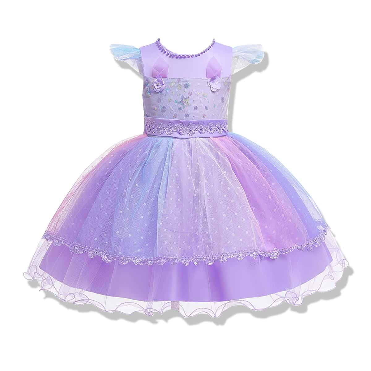 Контрастное сетчатое платье с аппликацией для девочек