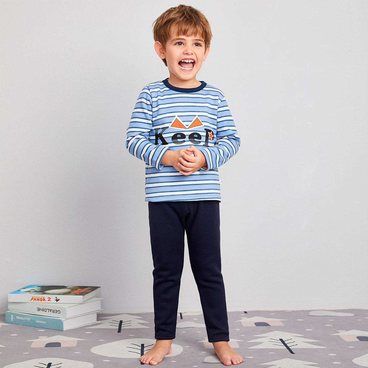 Полосатый повседневный домашняя одежда для мальчиков