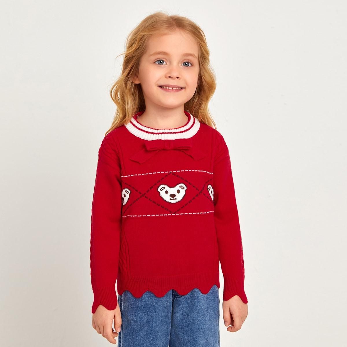 Бант с карикатурой повседневный свитеры для девочек