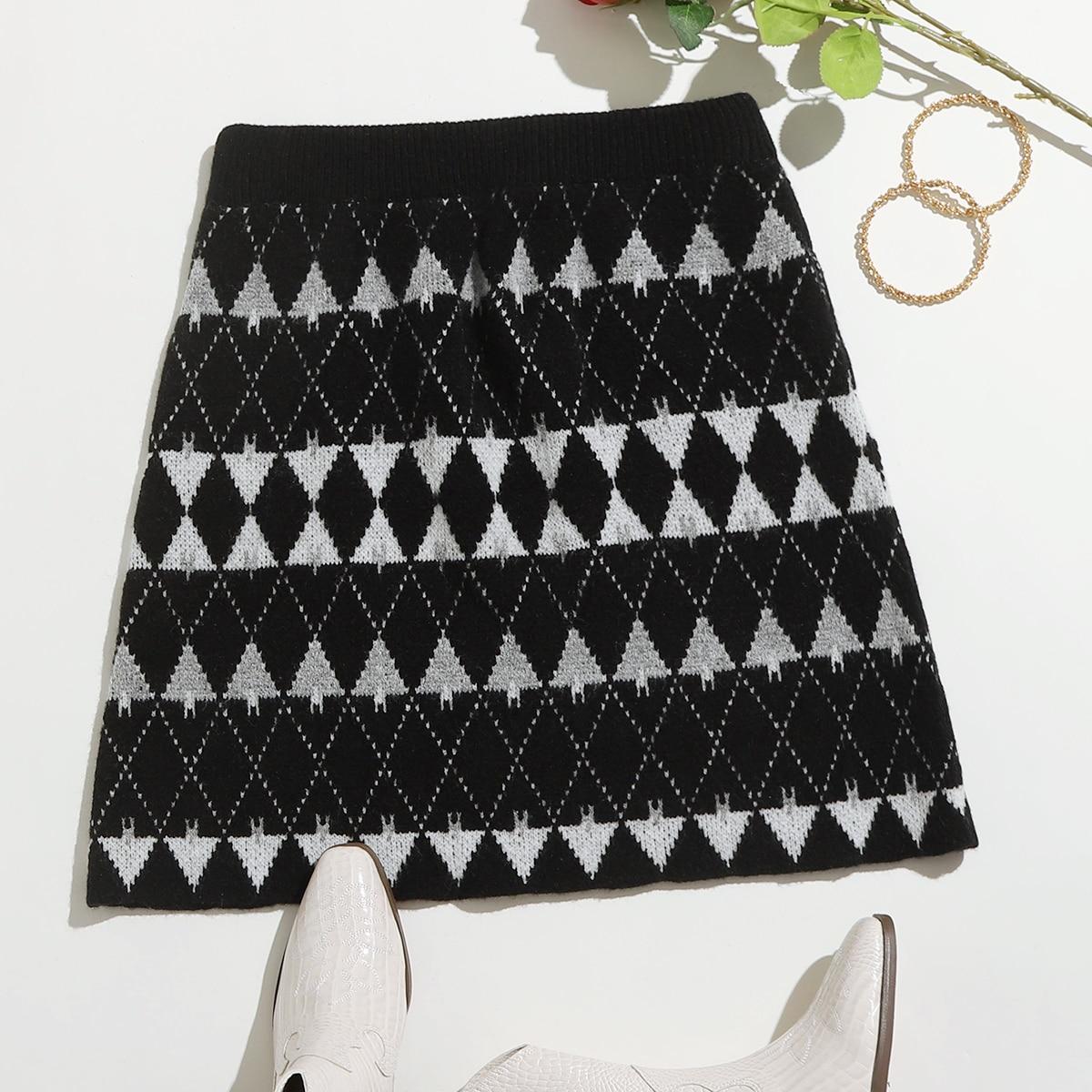 Геометрический принт повседневный трикотажные юбки размер плюс
