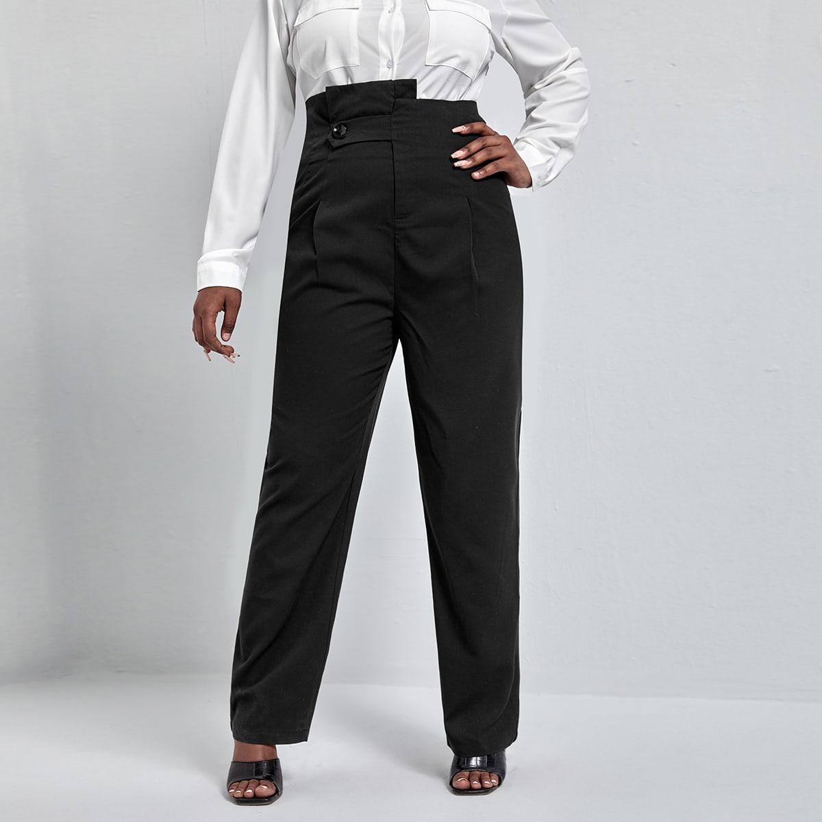 Пуговица одноцветный повседневный брюки размер плюс