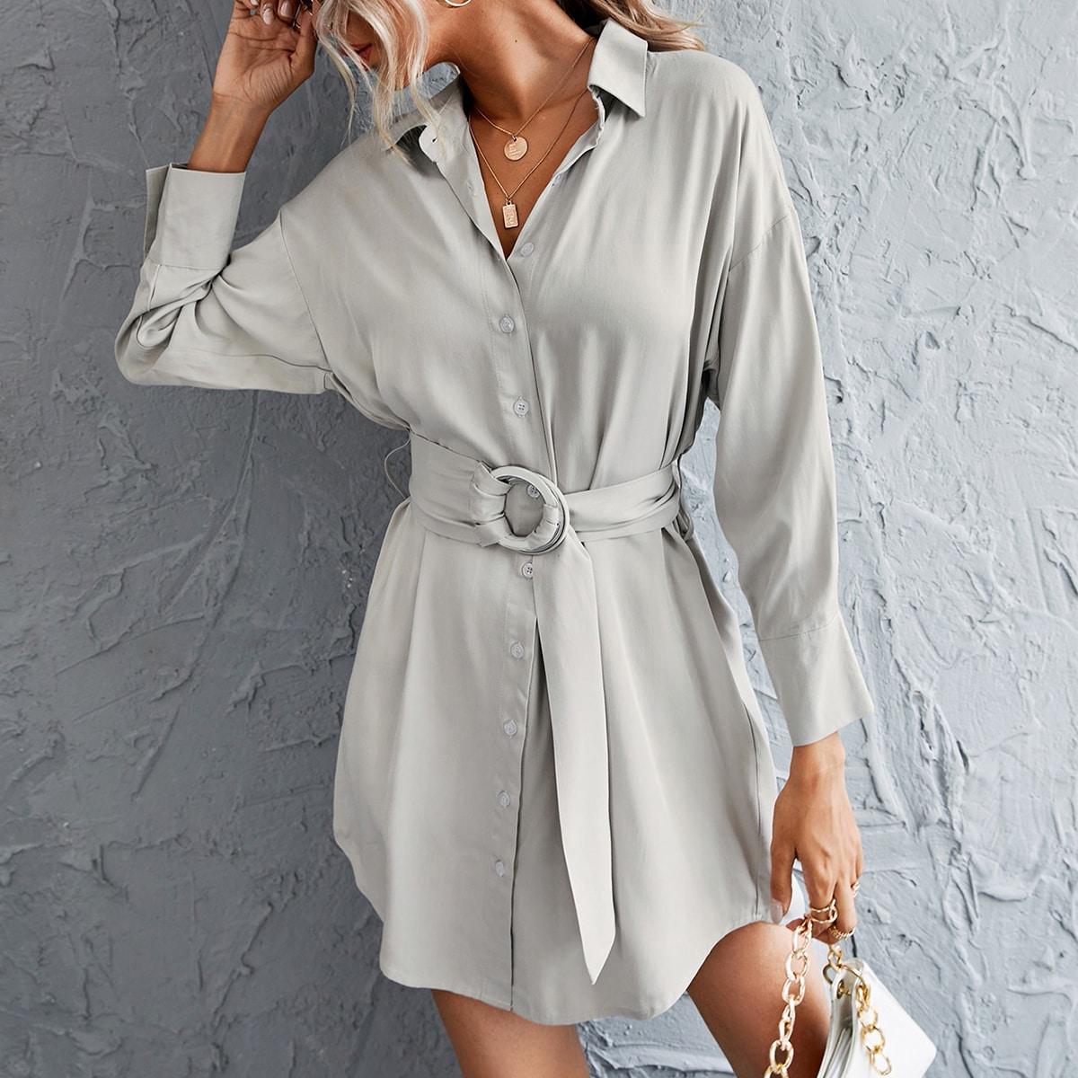 Платье-рубашка с поясом и пуговицами
