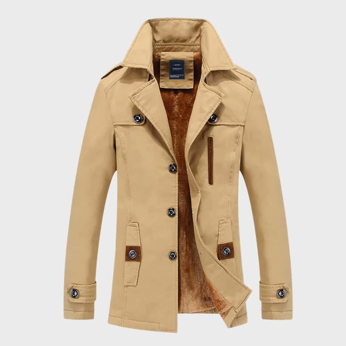 Мужское пальто-тренч на плюшевой подкладке