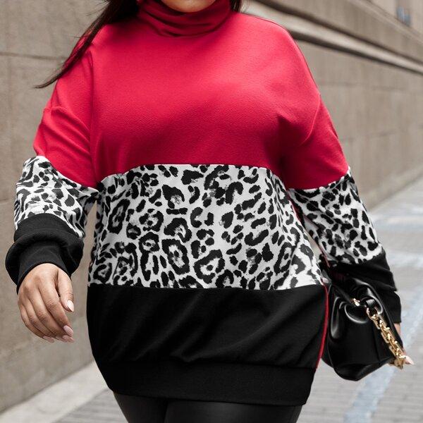 Plus Leopard Cut And Sew Cowl Neck Sweatshirt, Multicolor