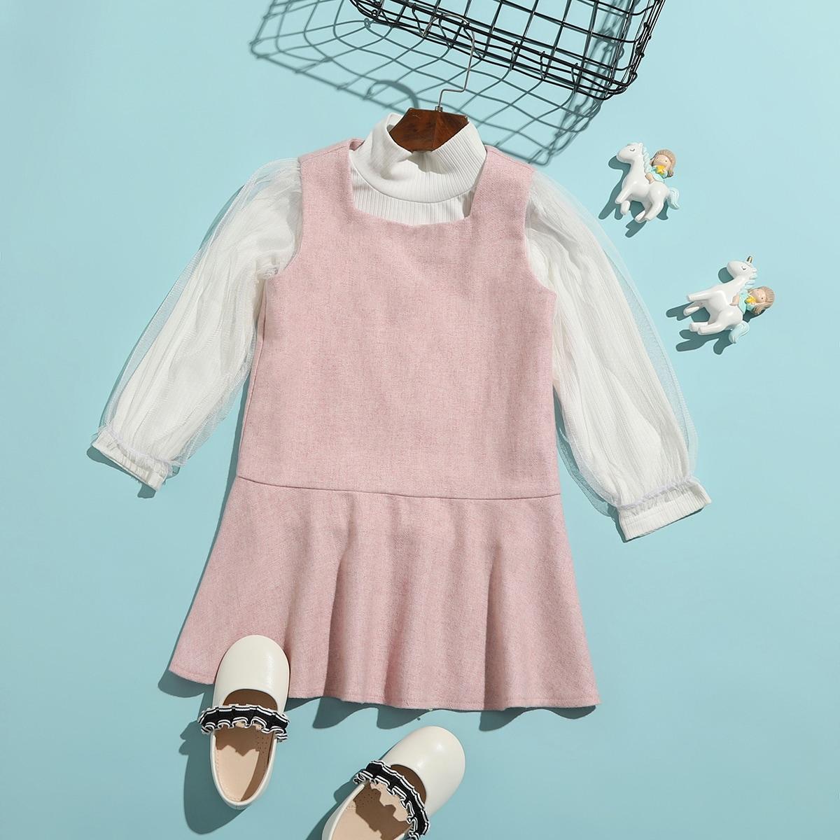 Контрастная сетка повседневный комплект из двух предметов для девочек