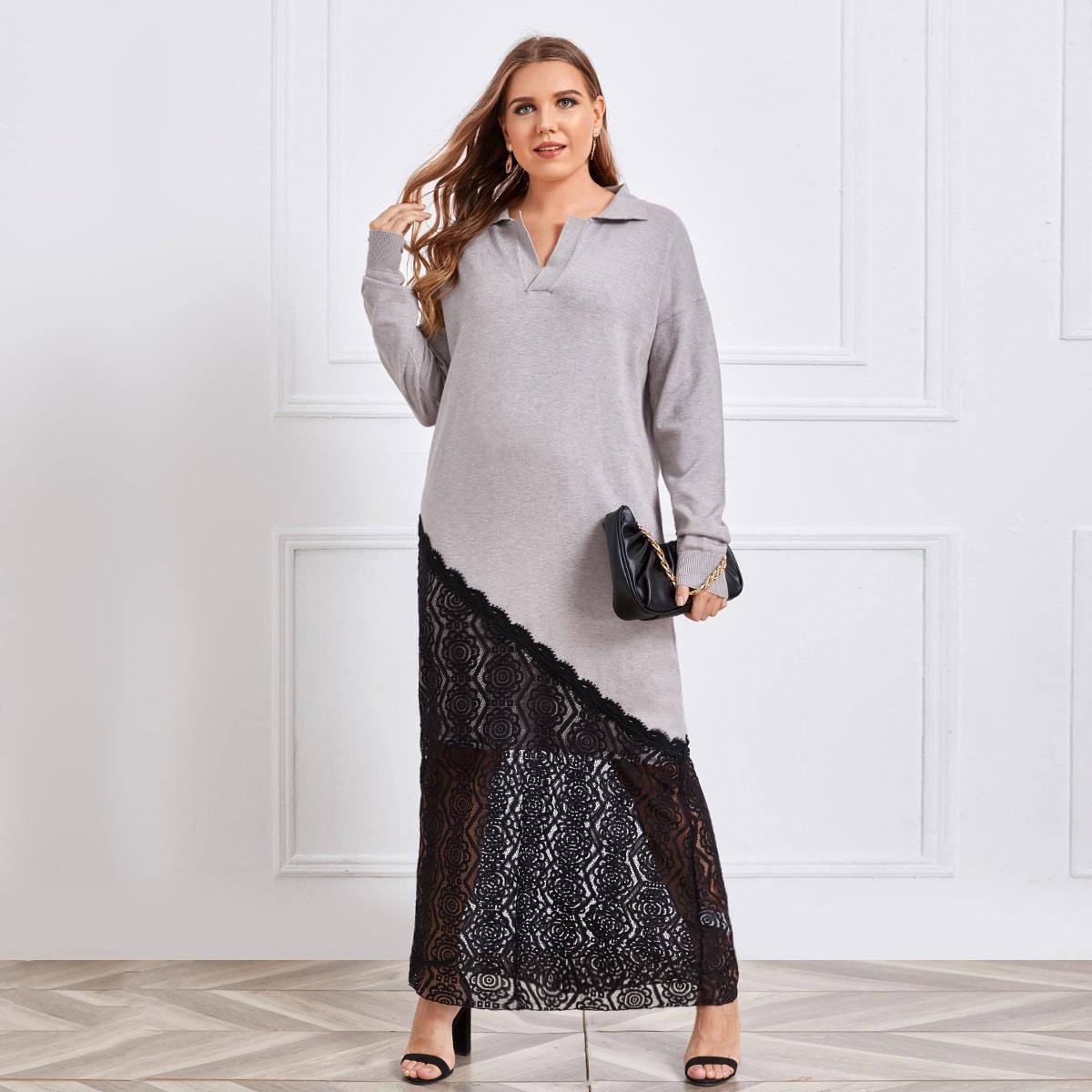 Контрастные кружева контрастный цвет повседневный свитер-платье размер плюс