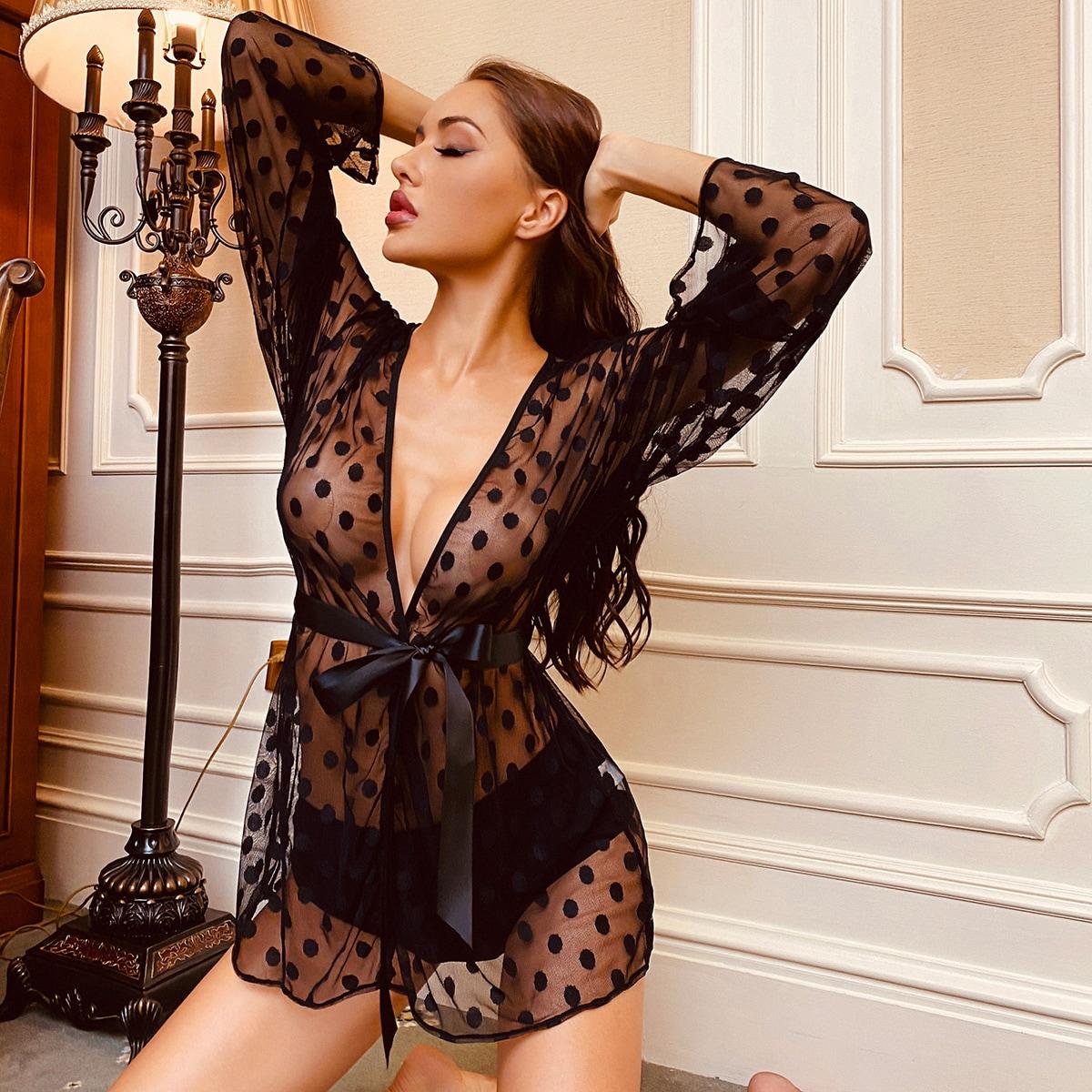 Прозрачный в горошек сексуальный ночной халат