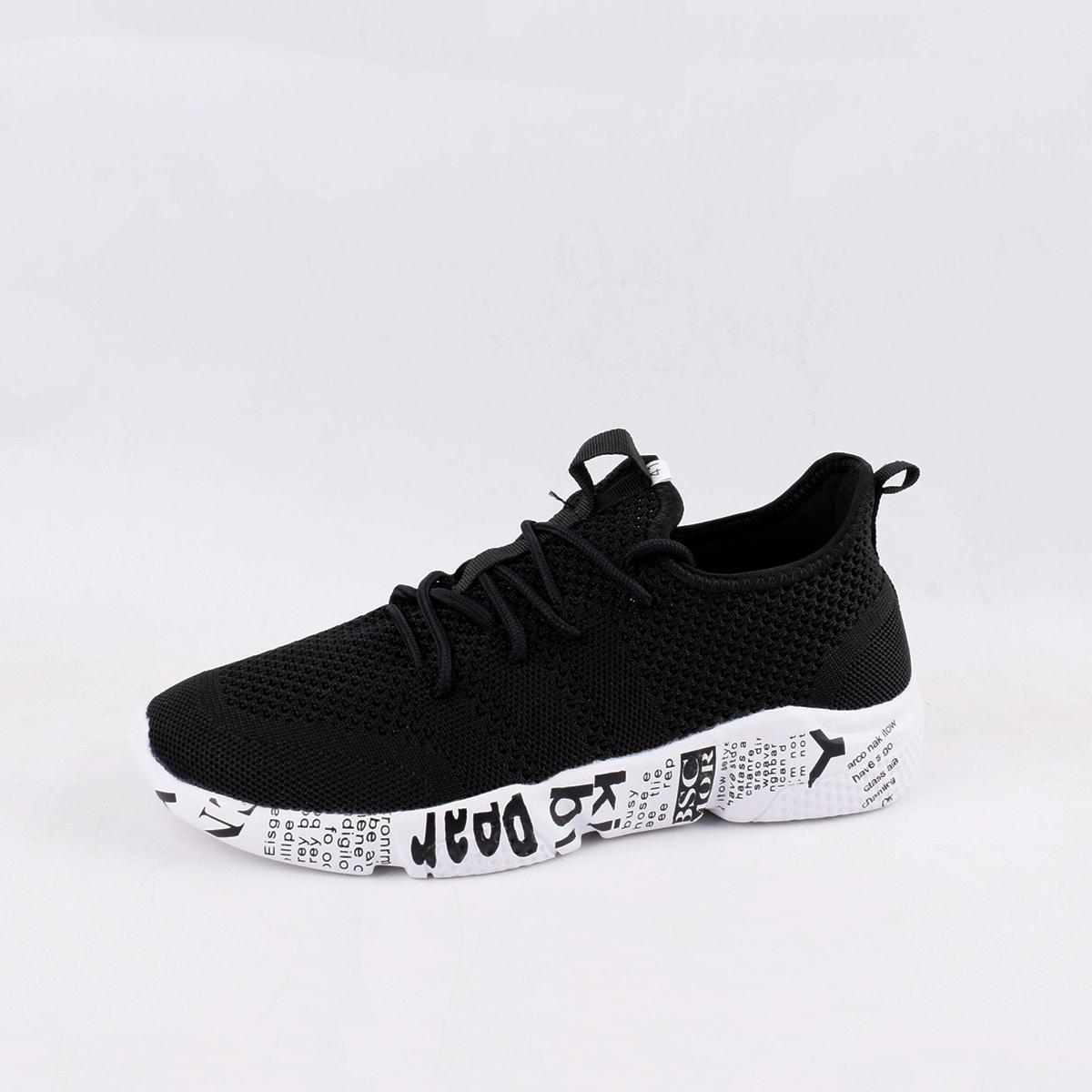 Мужские кроссовки на шнурках с текстовым рисунком