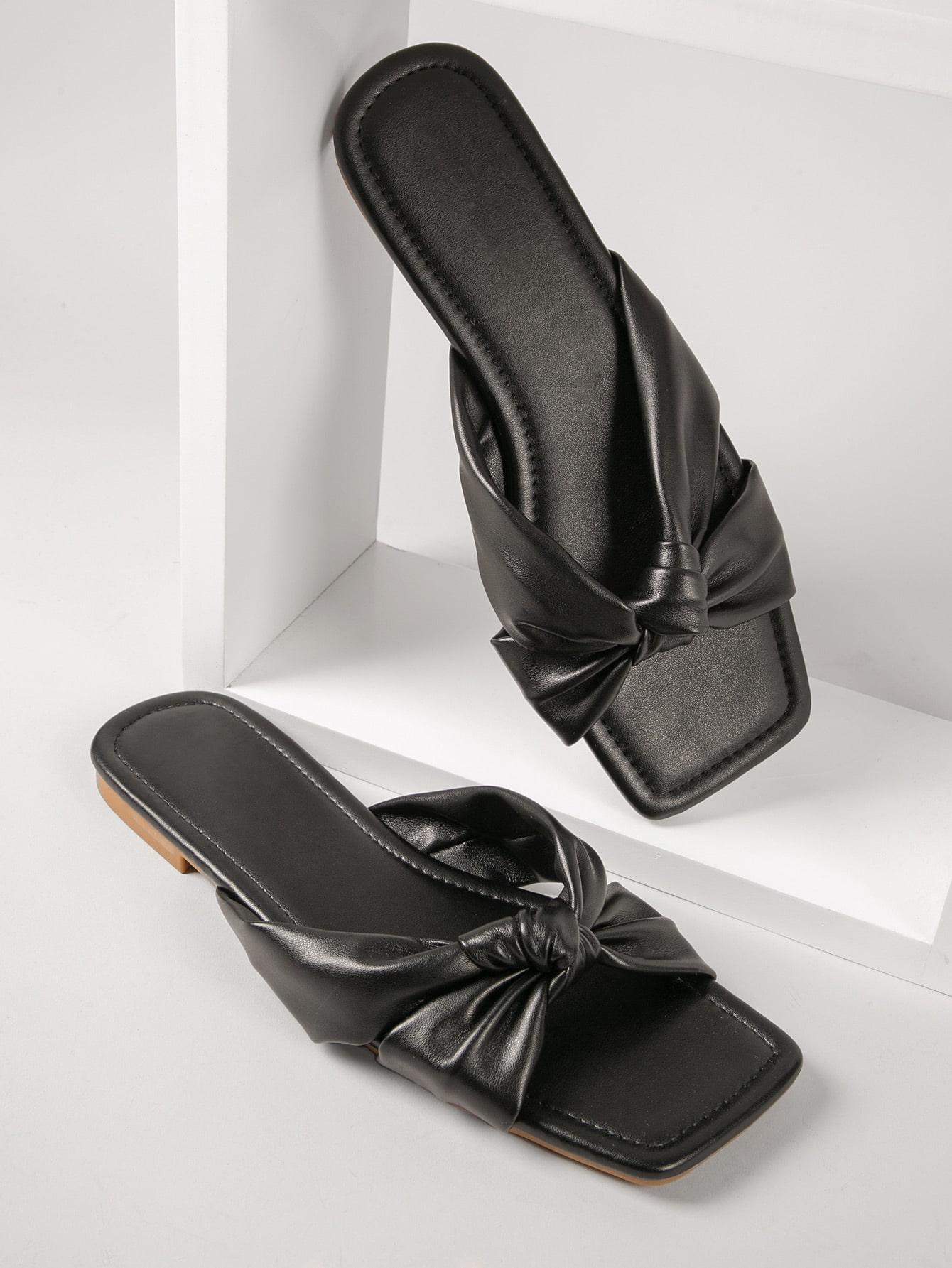 Faux Leather Twisted Vamp Slide Sandals thumbnail