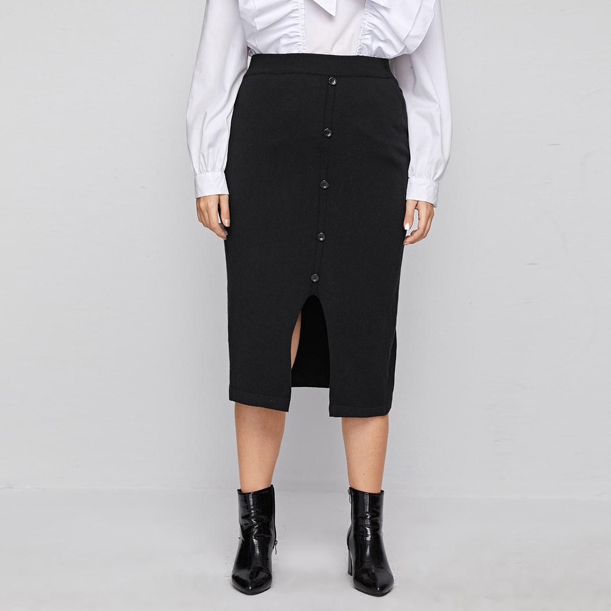 Пуговица одноцветный элегантный трикотажные юбки размер плюс