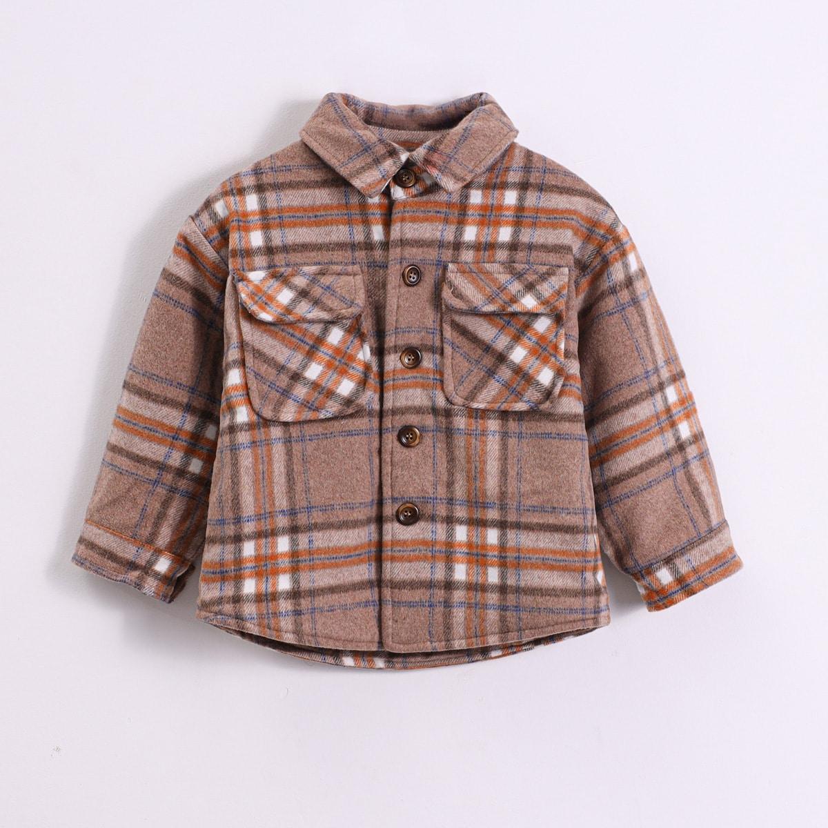 С карманами клетчатый повседневный пальто для маленьких мальчиков